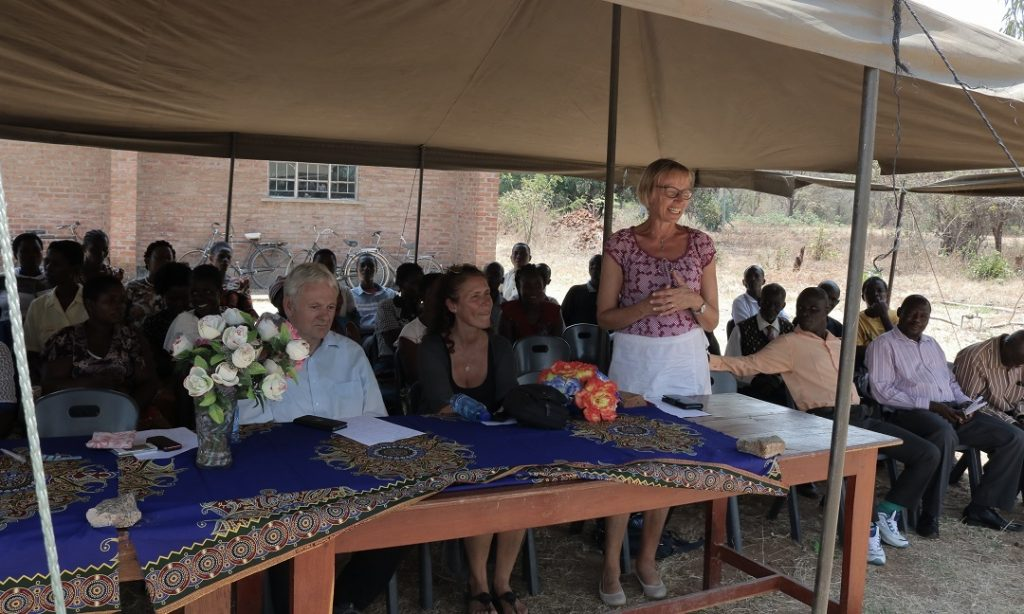Madam Maasjost speaking during the computer handover ceremony at St Annie's CDSS
