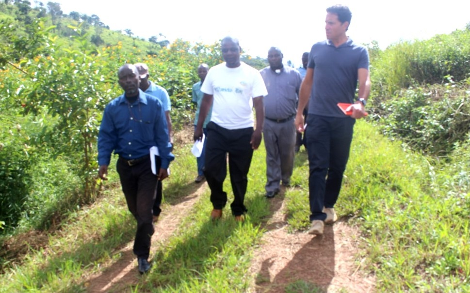 James Kasambara and Stephano Nkhata leading the group to the nursery that the farm is preparing in readiness for the 2019-2020 planting season which begins in December
